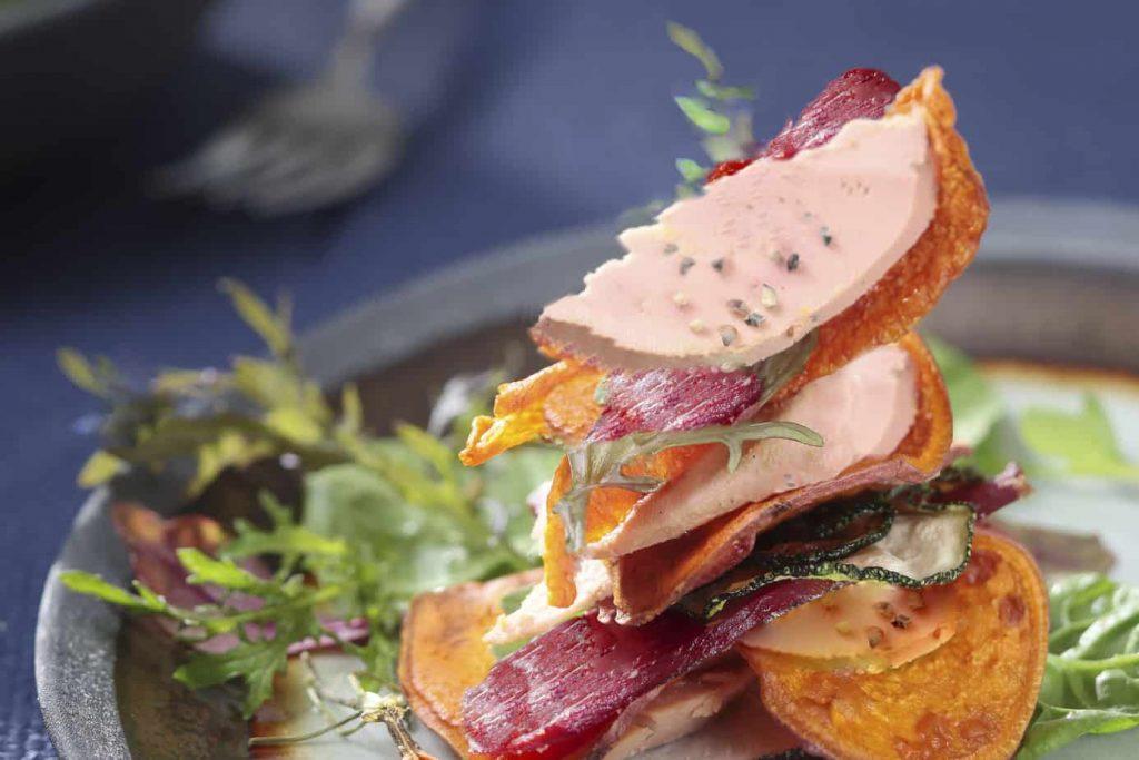 mille-feuille de foie gras et magret
