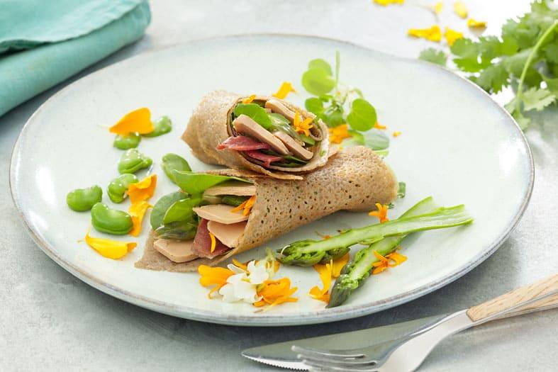 Le wrap galette de sarrasin Magret Fumé et foie gras