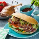 Pain kebab au confit de canard effiloché